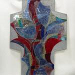 Kruis van glasaplique, 780x1100x40mm, gewicht_35kg te gebruiken voor stiltecentrum of religieuze ruimte