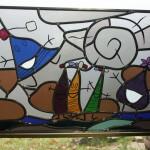 Landschap van glas in lood raamhanger
