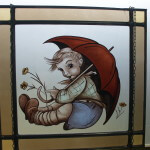 Raamdecoratie glas in lood met jongen