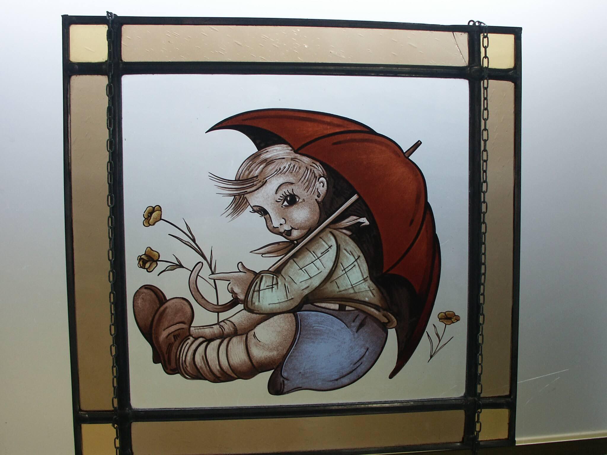 raamdecoratie glas in lood met jongen leenders glas in lood