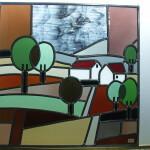 Raamhanger glas in lood landschapje