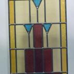 Raamhanger glas in lood in diverse kleuren (rood blauw geel) afm 355x827mm, alleen per 2 stuks