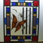 Raamhanger kleurrijk en klassieke look, glas in lood, met vlinder en
