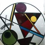 Abstracte afbeelding in raamhanger, glas in lood, doorsnede 840 mm