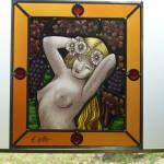 Raamhanger met naakte vrouw, gebrandschilderd glas in lood, 413x460mm