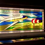 glas in lood ontwerp vliegtuig blue skies and tail wind